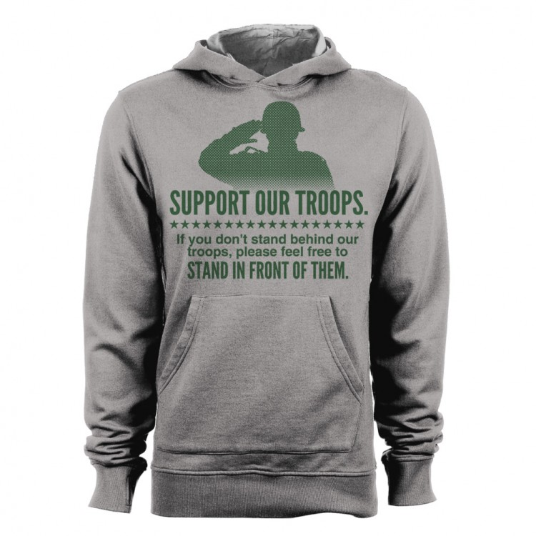 Mens Military Hoodie Hooded Sweat Shirt Top Stand Behind Our Troops Feel Free